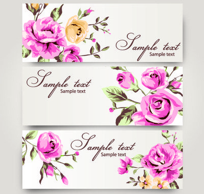 3 Romantic Banners with Roses
