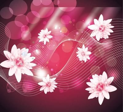 Abstract Pink Background with Lotus and Lines