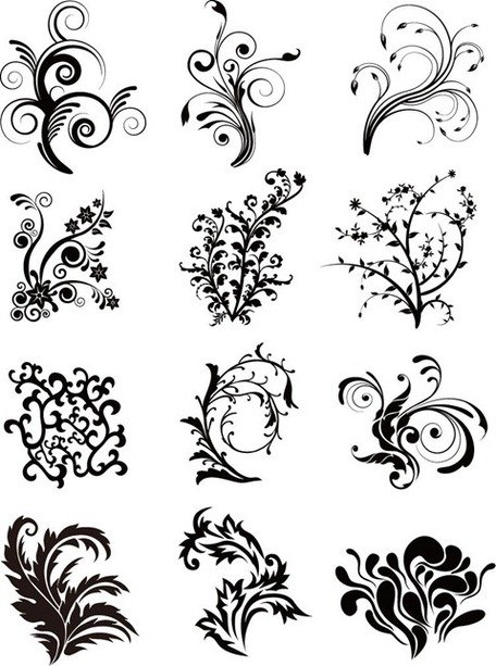 Floral Curves Vector Set