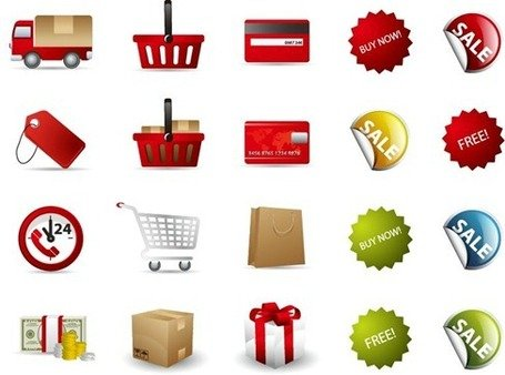 Compras Icon Set Vector