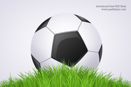 Black and White Football Ball - Soccer Icon (PSD)