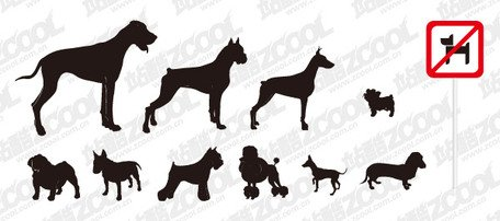 A variety of names dog silhouette