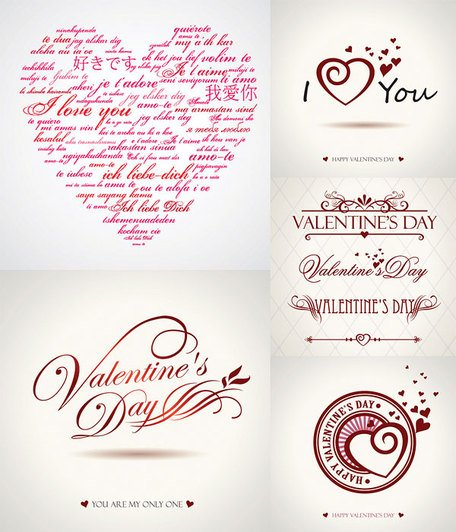 St Valentine\'s Day Love Heart and Word Vector Art