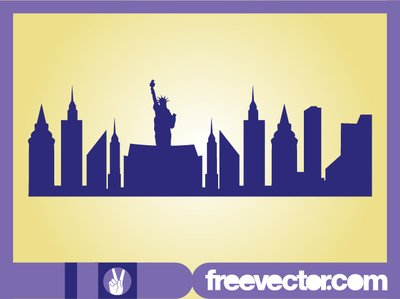 New York Skyline van silhouet