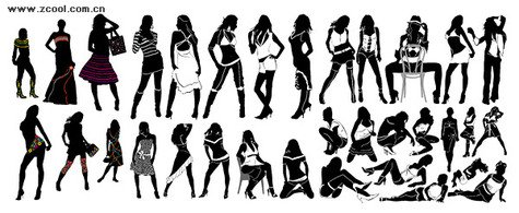 A variety of fashionable female silhouette
