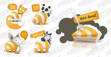 Rss Subscribe to the icon theme of cute animals vector mater