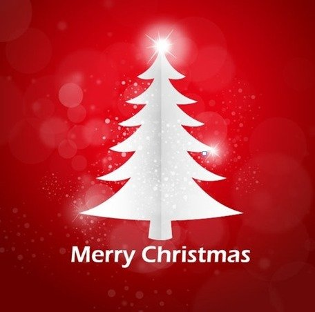 Red Abstract Background Christmas Tree