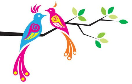 Birds colorful. Free clipart and vector