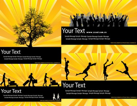 The trend of yellow and black color silhouette vector materi