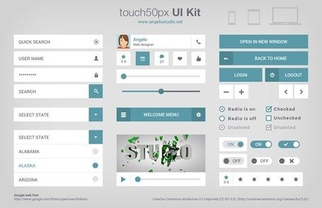 Touch 50px Free UI Kit