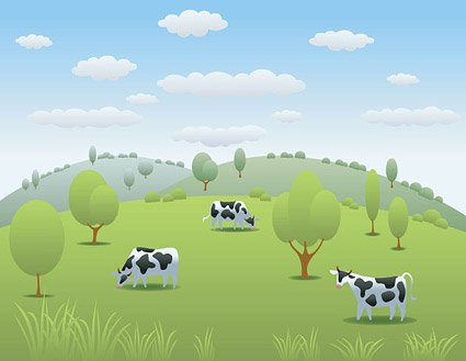 Cow Pasture Vector Vector Landscape Countryside Pastures