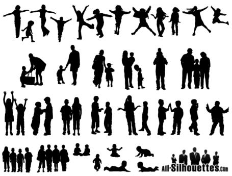Silhouettes Of People - Children Silhouette Png Clipart (#756536) - PikPng