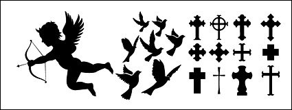 Eros, pigeons, cross silhouette icon material