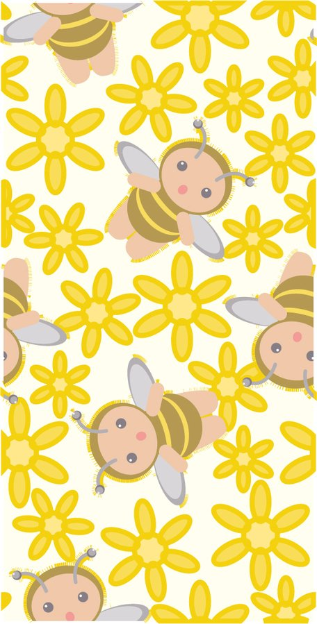 Cute bee flower background vector material consecutive