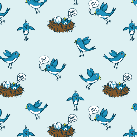 Twitter gratis uccelli Pattern in Photoshop e Illustrator