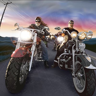 Vector Realistic Persons on bike