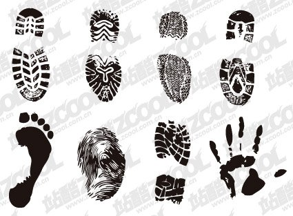 Shoe prints, footprints, fingerprints and palm-Vector materi