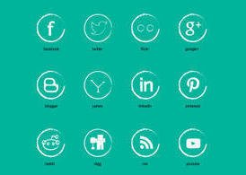 Gesso Social Media Set di icone vettoriali