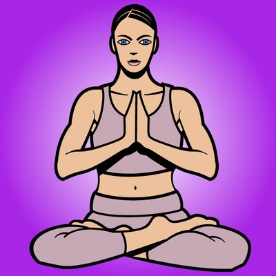 Frauen Cartoon Yoga-Pose