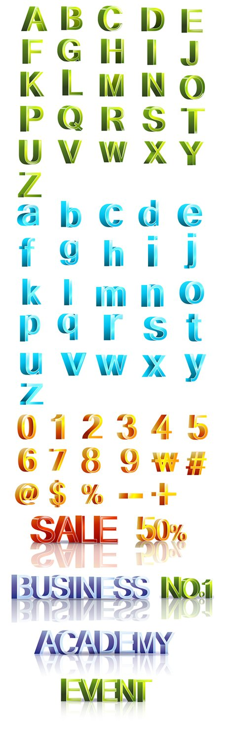 Three-dimensional letters and numbers