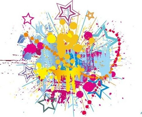 Colorful Bright Ink Splashes with Stars