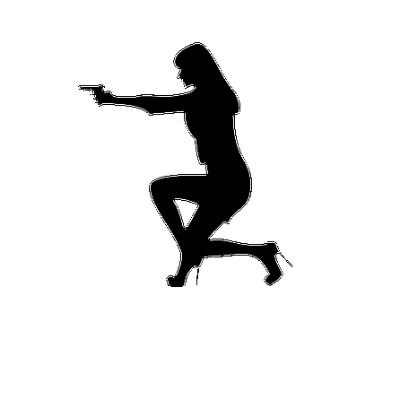 Woman with a Gun Silhouette