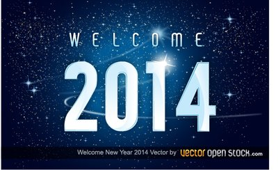 Welcome new year 2014 in space background
