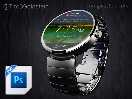 Android slitage - Wearable Mockup (gratis PSD)