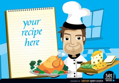 Chef with chicken, cheese and recipe note