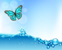 Vector water wave with butterfly and bokeh