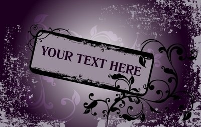 Grungy Purple Floral Frame Template