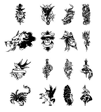 16 black and white tattoo totem vector material shall