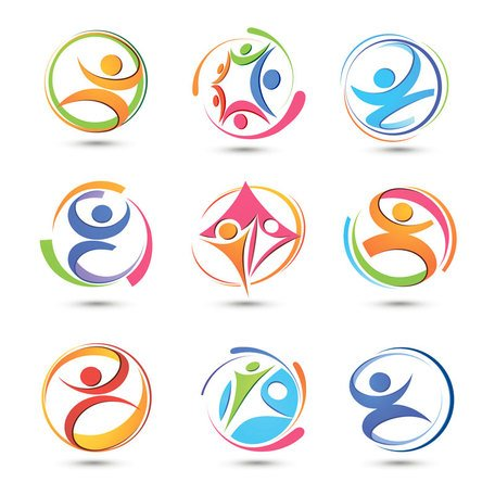 Set of colorful abstract symbols