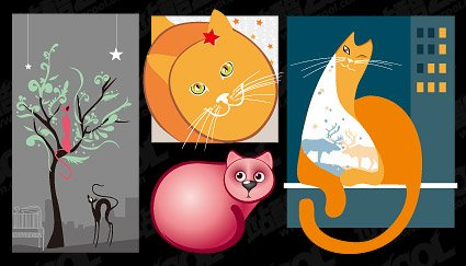 4 cute cat illustrator