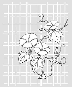 Japanese line drawing of plant flowers