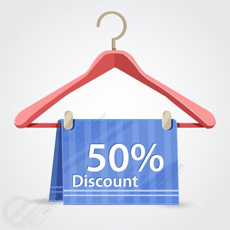 Vector Clothes hanger with discount price tag, Vector ...