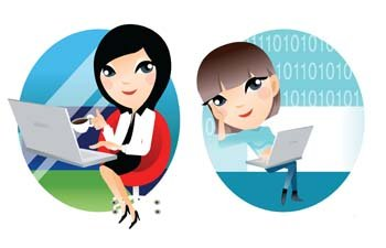 Girls and computer vector 9