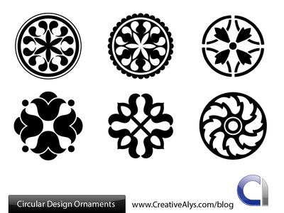 Black & White Circular Ornament Pack