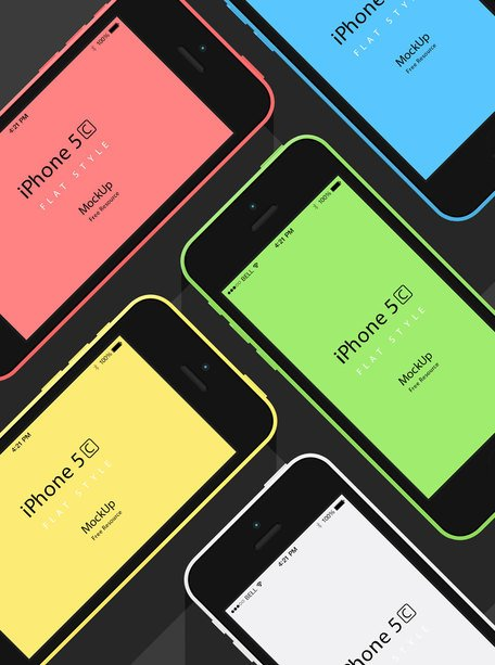 iPhone 5C plana Mockup Design
