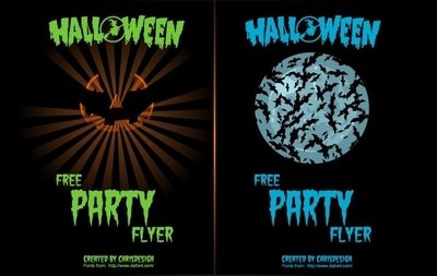 Pumpkin & Bat 2 Halloween Flyers