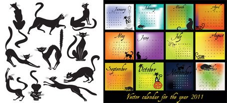 Black Cat Theme Vector 2011 Calendar