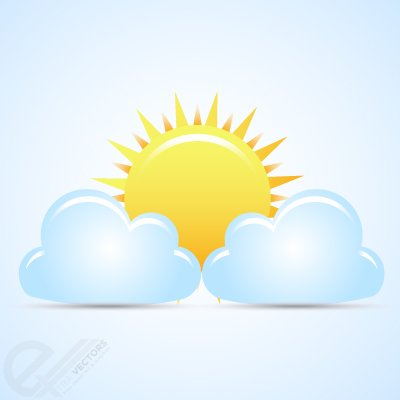 Free Vector weather with sun and clouds
