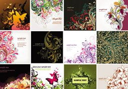 Floral background vector collection