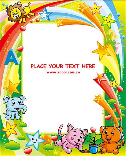 Fun cute animals vector frame material