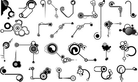 Series Of Black And White Design Elements Vector 11 Line Shape