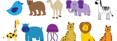 Colourful and funny painted animals