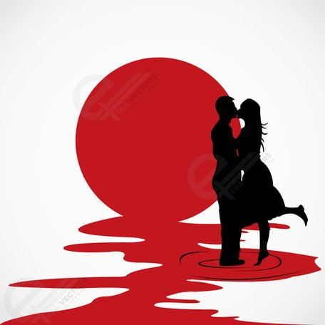 Love couple kissing each other vector silhouettes