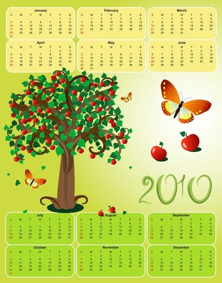 2010 Apple tema kalender mall vektor fjäril