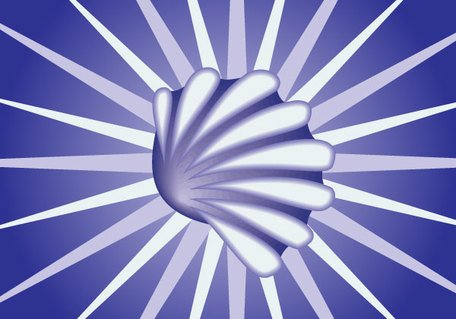 Snail Shell on Blue Sunburst Background