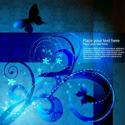 Blue Swirls Abstract Background with Butterfly